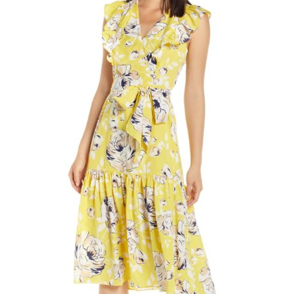 NWT Eliza J Size 14 Faux Wrap Chiffon Floral Dress